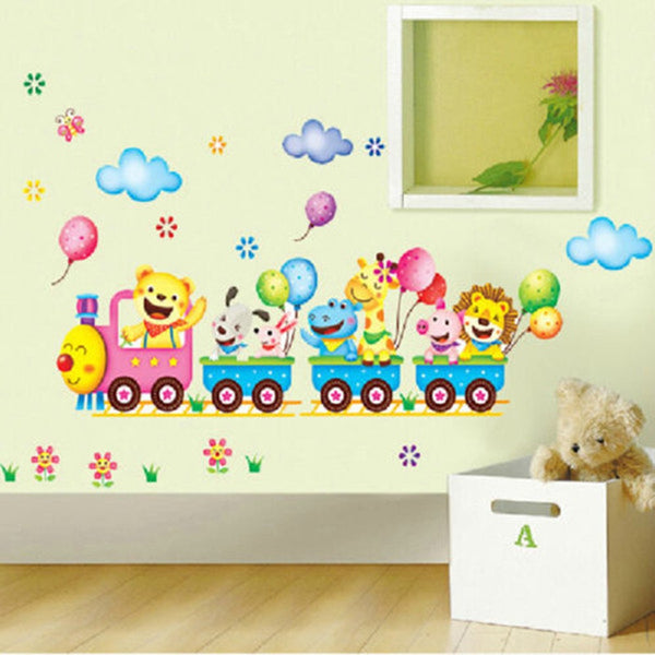 NEW!!!Cartoon Childrens 3D Jungle Animal Train Monkey Bird Tree Zoo Removable Wall Sticker Decal Home Nursery Kids Room Decor
