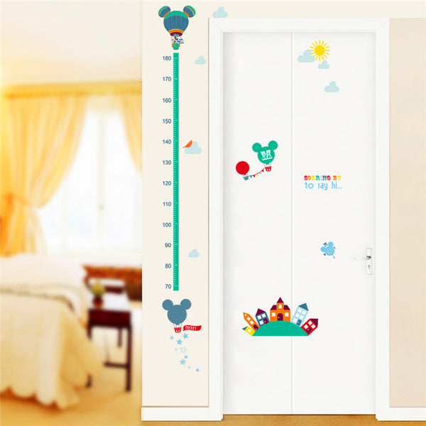 ZooYoo Cute Balloon Wall Sticker Childrens Growth Height Chart Kids Room Baby Nursery