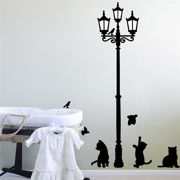 lamppost cat playing wall stickers home decorations 030. diy adesivo de paredes pvc decals childrens bed playroom mural arts 4.0