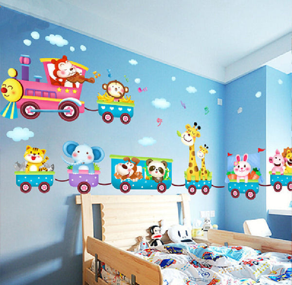 Childrens Jungle Animal Train - Childrens Printed cartoon Wall Art Vinyl Stickers for baby kids room