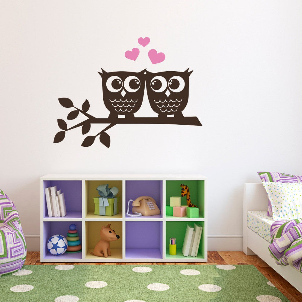 Owls in Love Branch Childrens Wall Art Nursery Decor Wall Stickers Owl Theme Kindergarten Kids Wall Stickers Child T170411