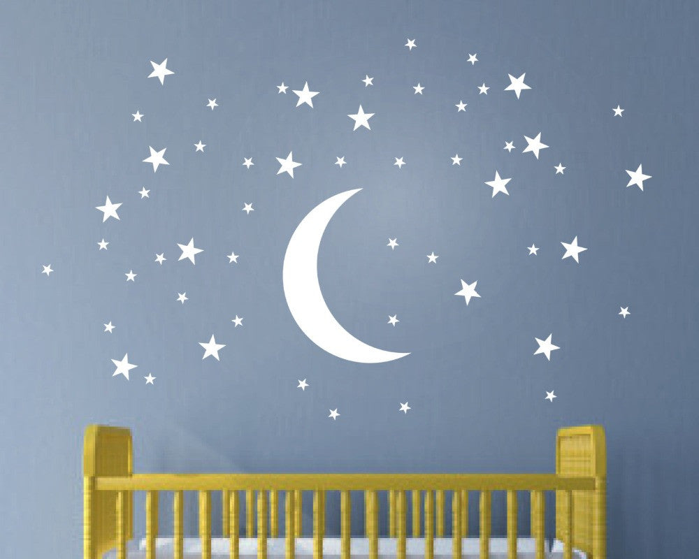 Stunningly Stars and Moon Childrens Wall Art Nursery Baby Decor Wall Stickers Kindergarten Child Kids Wall Stickers T170306