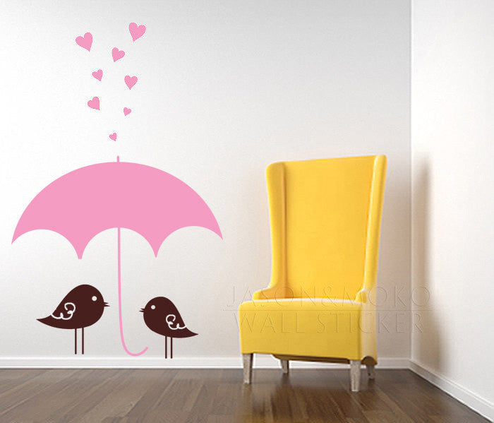 Wall Decal Birds Raining Hearts Childrens Wall Art Decals wallpaper for home decoration 100*160CM Free shipping
