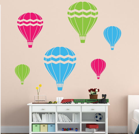 6pcs/set colored Hot Air Balloons Wall Decal,Childrens  Playroom Nursery Decor mural