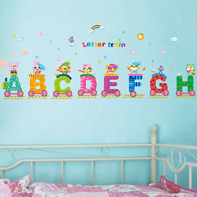 Childrens Room Decor Animal Letters Train Colorful Mural Wall Art Vinyl Sticker