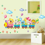 Wall Stickers Childrens 3D Jungle Animal Train - Printed Wall Art Vinyl Stickers Decal Decor P6