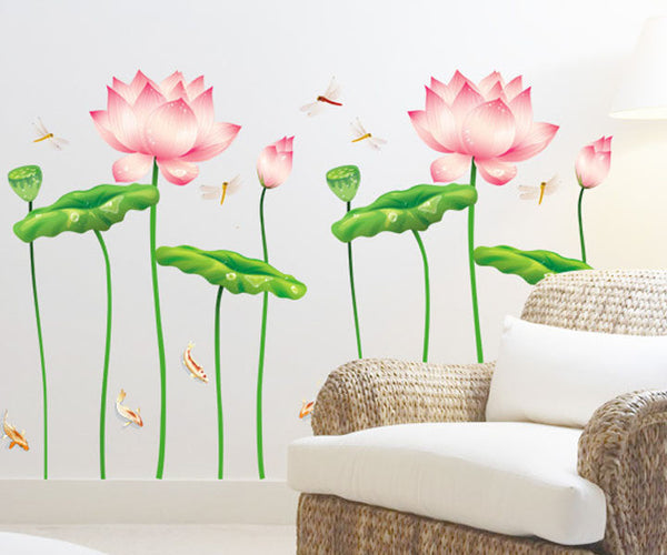 Popular Flower Lotus China Wall Stickers Wallstickers Nature Decal For Childrens Walls High Quality Decoration