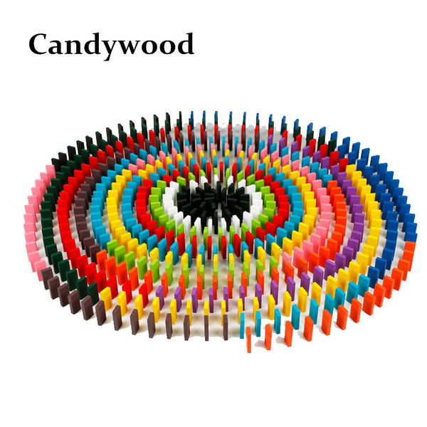 Candywood 120pcs/set Domino Wooden Tower Wood Building Blocks Rainbow Color Sort Wood Domino Blocks toy for Children kids