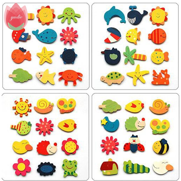 12pcs Cartoon Wood Animal Plant Magnetic Wall Sticker Home Party Magnet Decoration Kids Literacy Preschool Toys Fridge Magnets