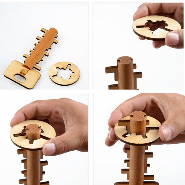 Bamboo Unlock Key Adult Educational Toys kids Intelligence Preschool Toy