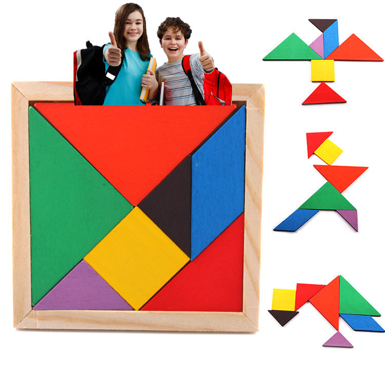 Children's Mental Intelligence Development Tangram Geometric Wooden Toy Classic Jigsaw Puzzle Kids Preschool Educational Toys