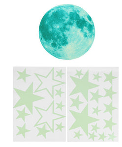 Luminous Moon Wall Sticker Large Moon Stars Combination Set Glow in the Dark Moonlight DIY Wall Sticker Party Supplies Home Deco