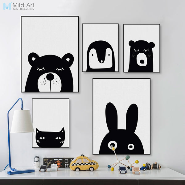 Black White Kawaii Animal Bear Cat Rabbit Poster Nordic Baby Kids Room Wall Art Canvas Painting Home Deco Print Picture Custom