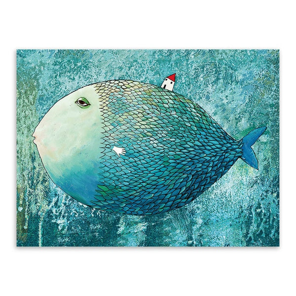 Modern Watercolor Big Fish Canvas Print Poster Abstract Animated Fairies Pictures Wall Art Kids Room Home Deco Painting Custom