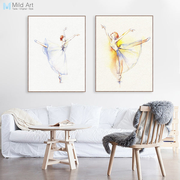Modern Watercolor Elegant Ballet Dance Ballerina Poster and Prints Girl Room Wall Art Picture Home Deco Canvas Painting Custom