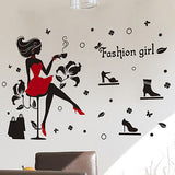 45x60cm Cartoon PVC Fashion Dressy Girl Bedroom Deco Art flower Wall Stickers Home mural Vinyl Decal Kids Living Room Decor