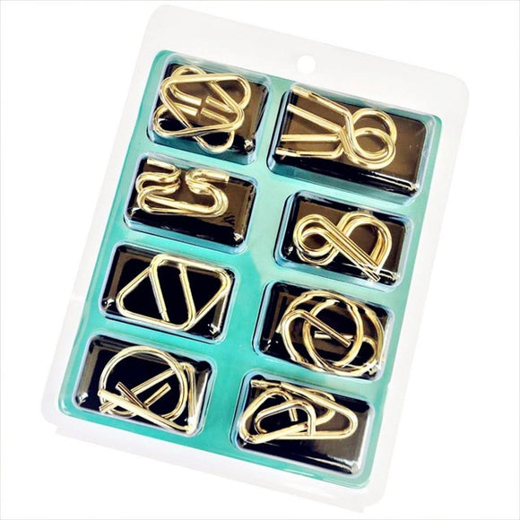 8pcs/Set Metal Wire Puzzle IQ Mind Brain Teaser Puzzles Game  for Adults  and Children. Kids Montessori Early Educational Toys A Nice Gift.