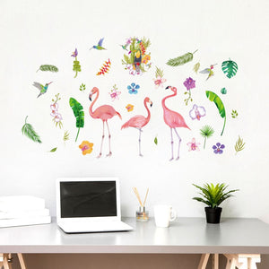 1pc Nordic Style Flamingo Pink Wall Stickers Home Deco Living Room Bedroom Cartoon Stickers For Kids SK9308