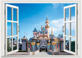 3D Princess Castle Cartoon Window View Girl Wall Sticker Home Decals Home Decoration Wallpaper Kids Rooms Wall Decol Baby Room