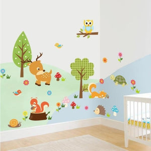 Classroom Decoration Forest Animals Owl Children's Room Bedroom Background Wall Sticker Baby Room Decor Deco Maison