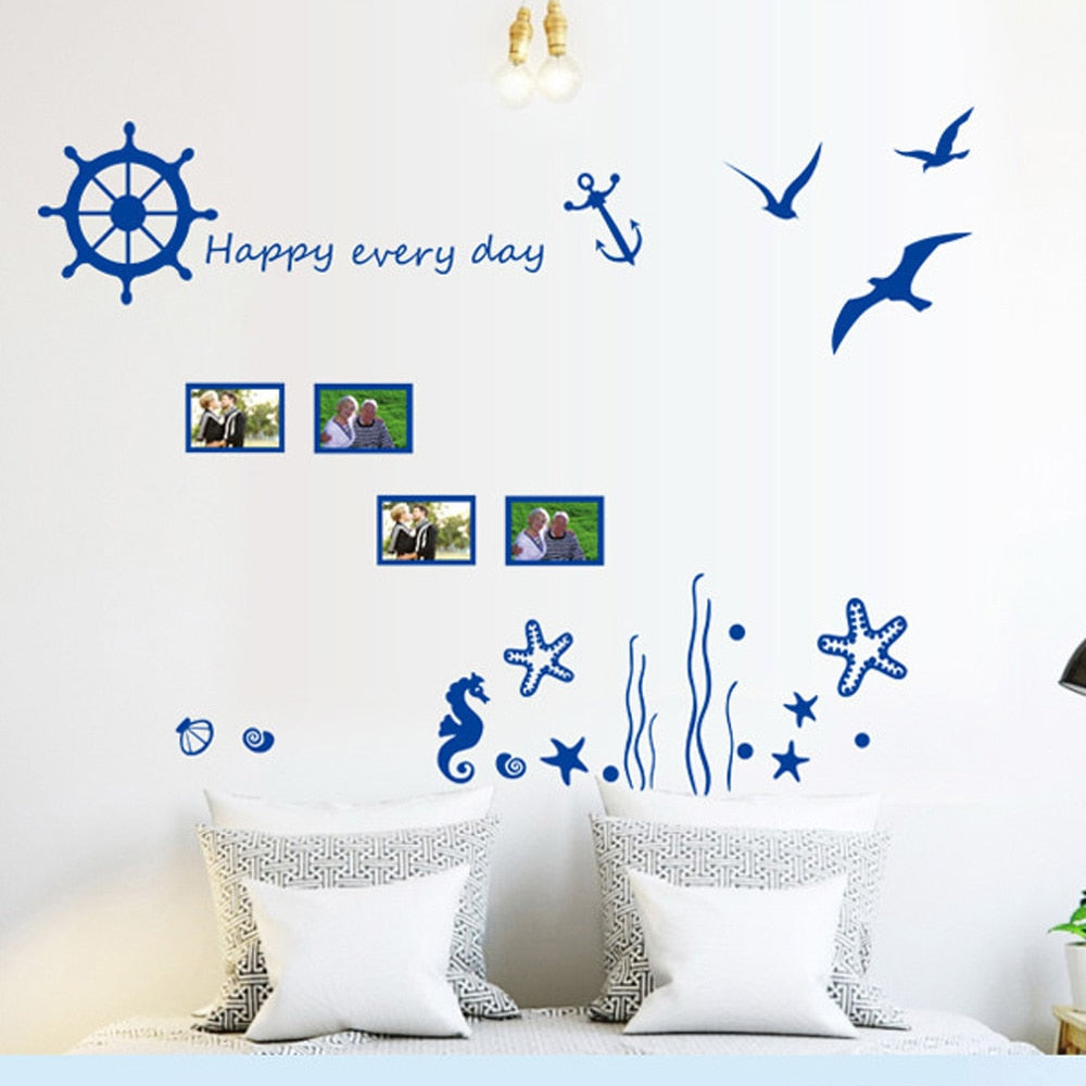 candiway Blue ocean Wall Sticker Kids Room Home Decor Nursery Wall Decal Poster Art Deco poster Home Decoration 45*60cm NE122
