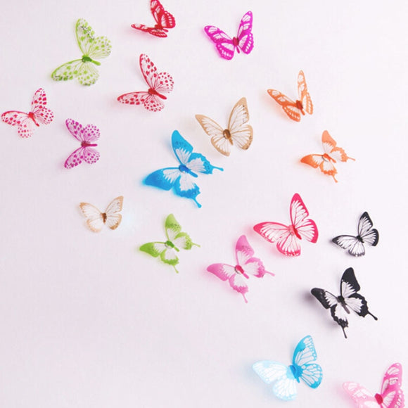 18Pcs kitchen refrigerator deco New 3D Cartoon Butterflies DIY Wall Stickers for kids room home decor Christmas party decoration