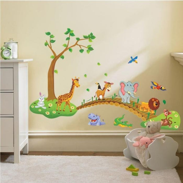 New Creative Children Room Decoration 3D Cartoon Jungle Wild Animal Tree Bridge Flowers Wall Stickers Decal for Kids Home Deco