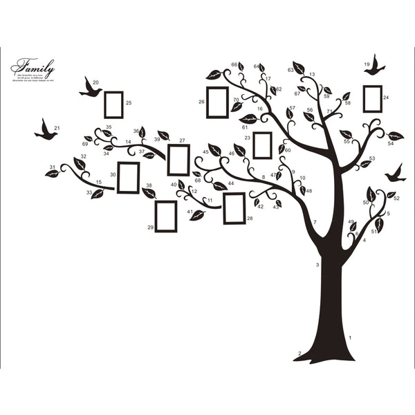 180*250Cm/79*99in Free Shipping Large  Black 3D DIY Photo Tree PVC Wall Decals/Adhesive Family Wall Stickers Mural Art Home Deco