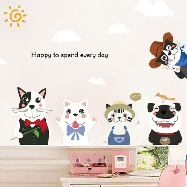 Cute cat and dog PVC wallpapers Children\'s room deco cartoon Wall Stickers Bright color