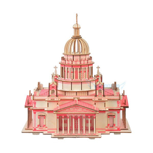 wooden toy 3D puzzle hand work DIY assemble game woodcraft kit Russia famous building Issa Kiev Cathedral birthday gift 1pc