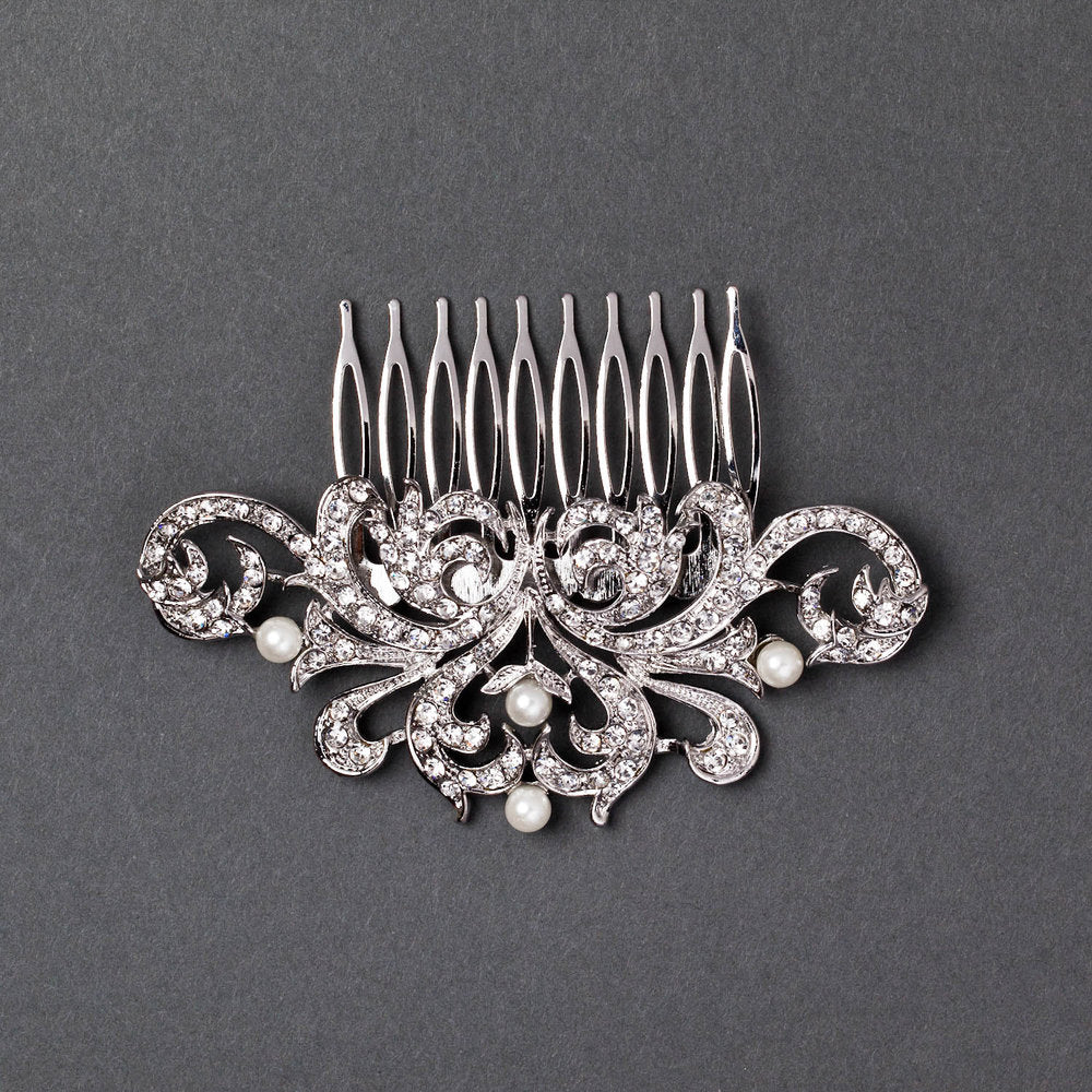 Symmetrical Jeweled Hair Comb