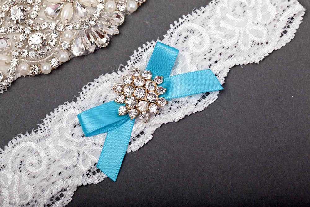 Something Blue Jeweled Garter Set
