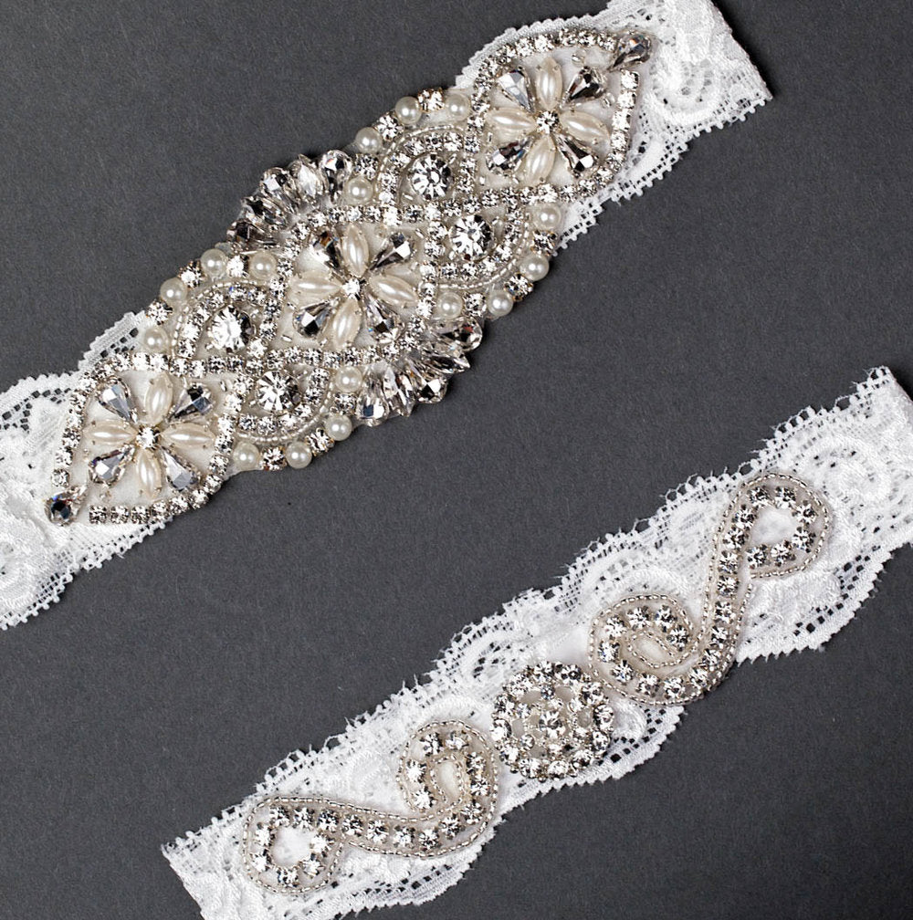 Vintage Lace and Pearl Wedding Garter Set