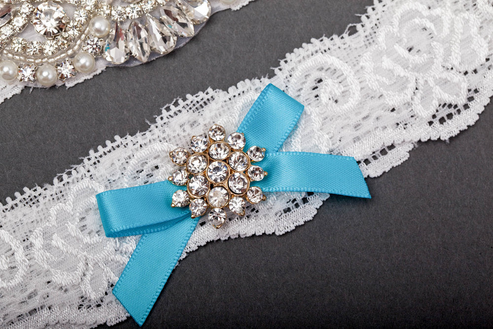 Something Blue and Rhinestone Garter Set
