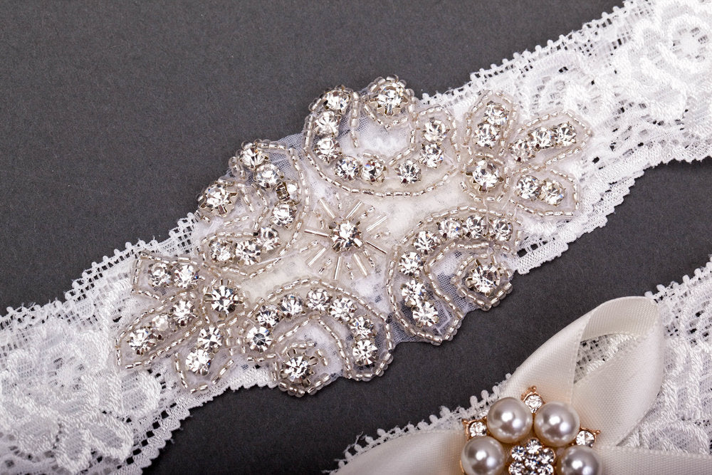 Lace and Jewel Garter Set