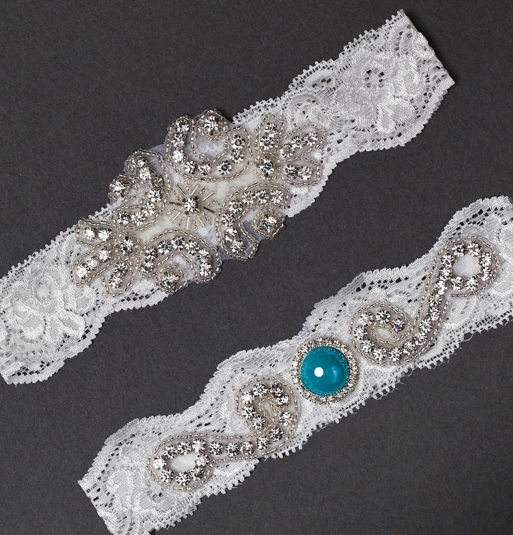Lace and Blue Wedding Garter Set