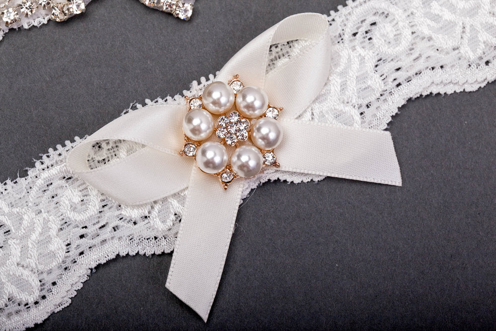 Lace and Jewel Marquise Bridal Garter Set