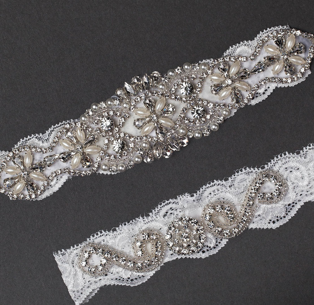 Vintage White Lace Jeweled Garter Set