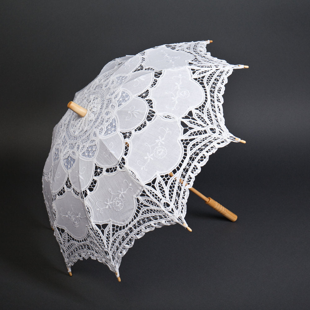 White Battenberg Lace Parasol