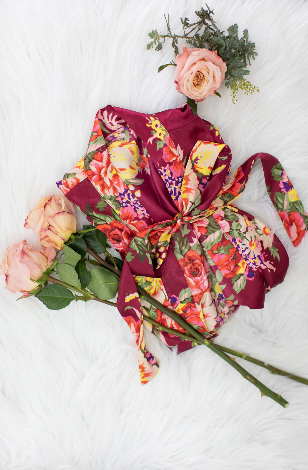 Burgundy Floral Bridesmaid Robe