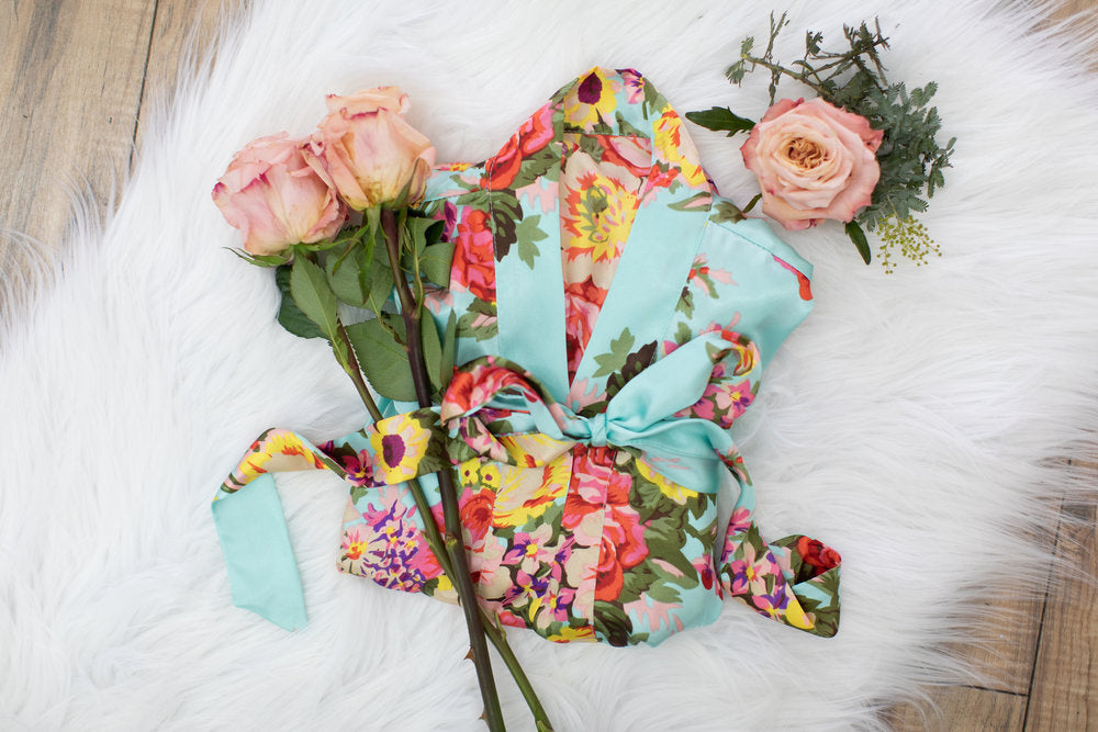 Tiffany Blue Floral Bridesmaid Robe