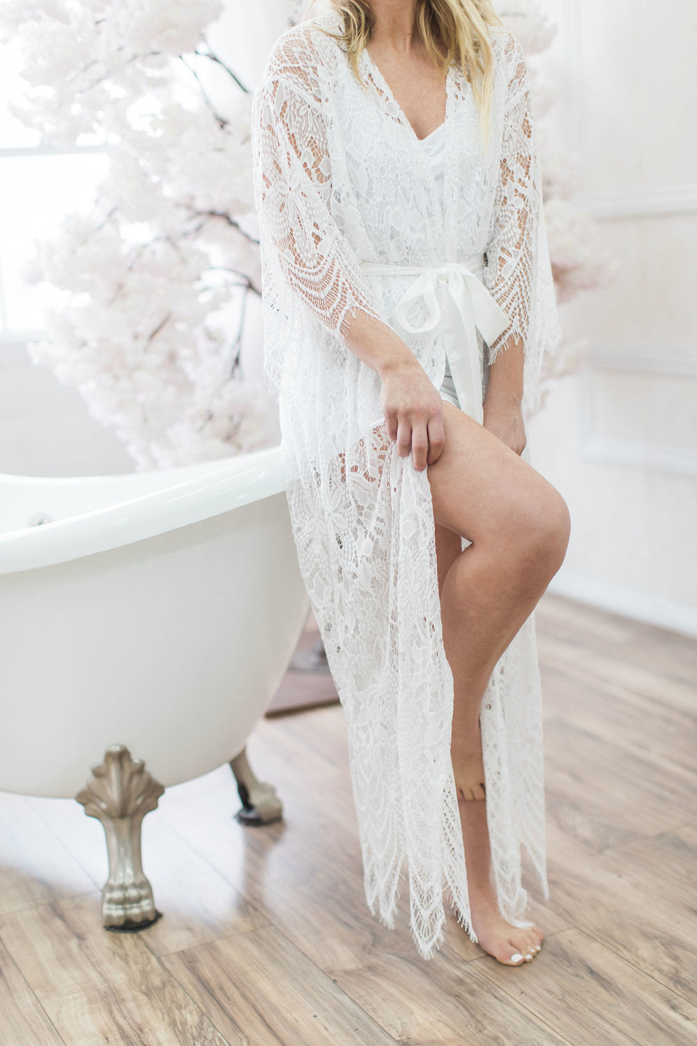 Bridal Lace Robe Long