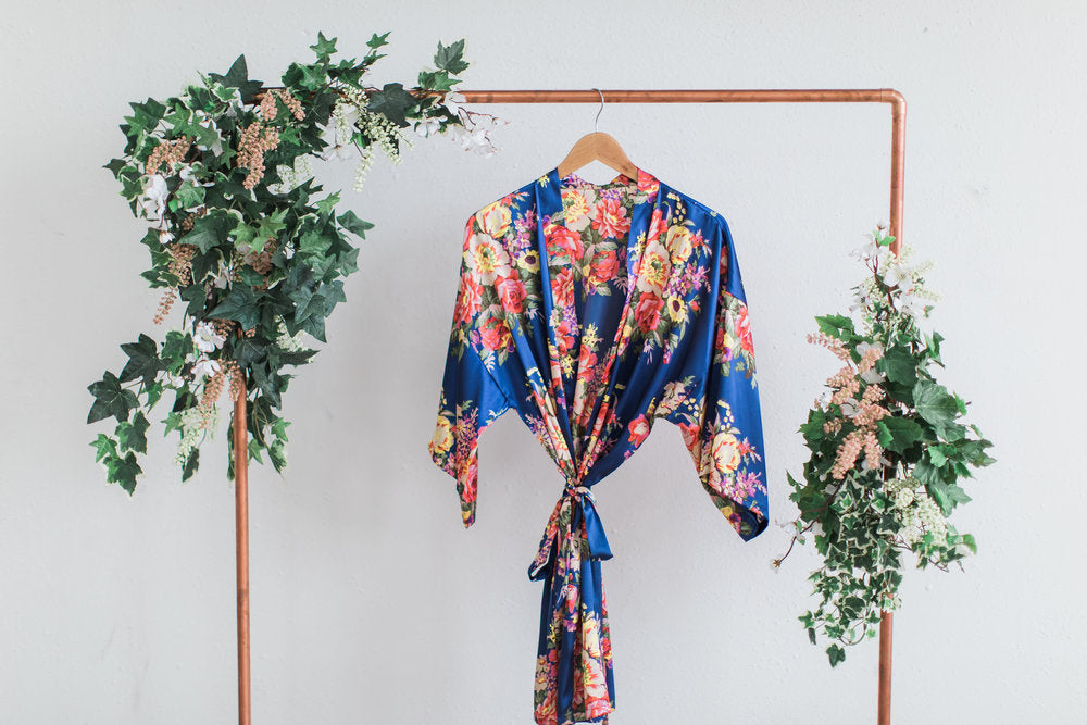 Navy Floral Bridesmaid Robe