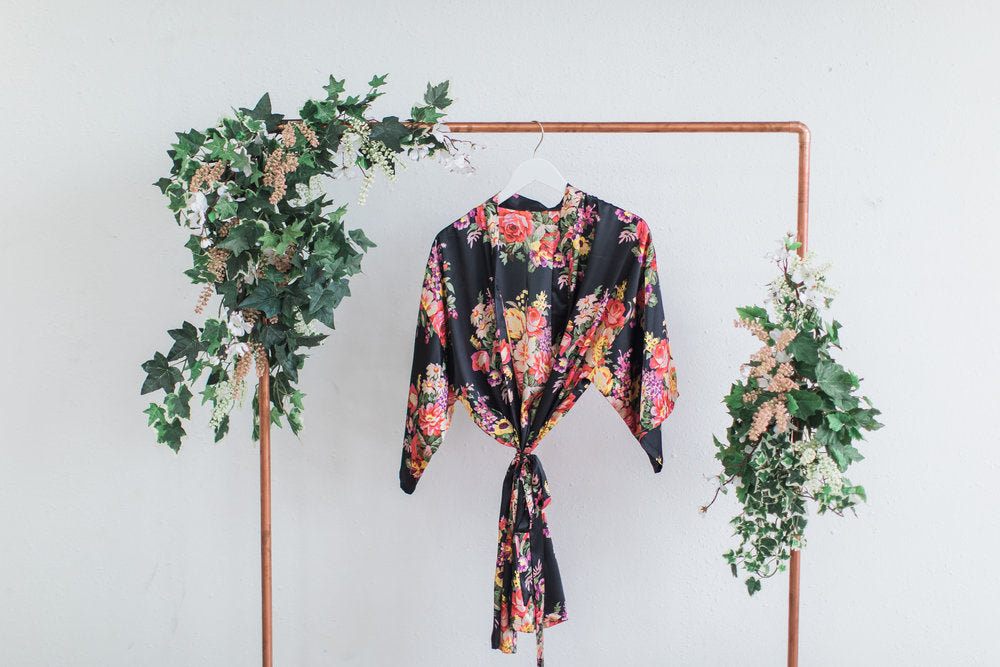 Black Floral Bridesmaid Robe