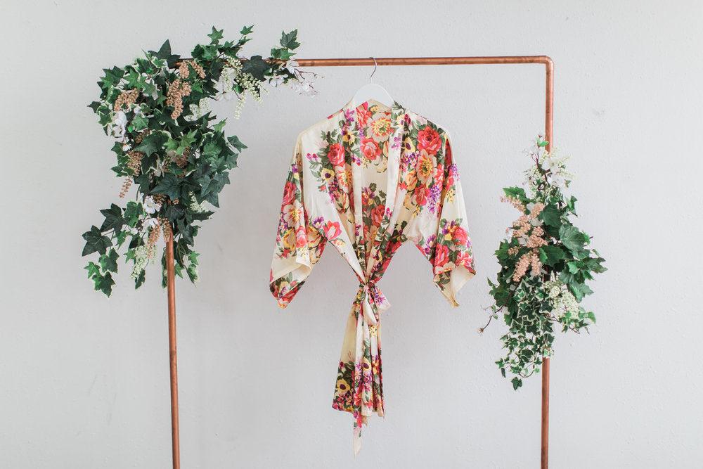 Champagne Floral Bridesmaid Robe