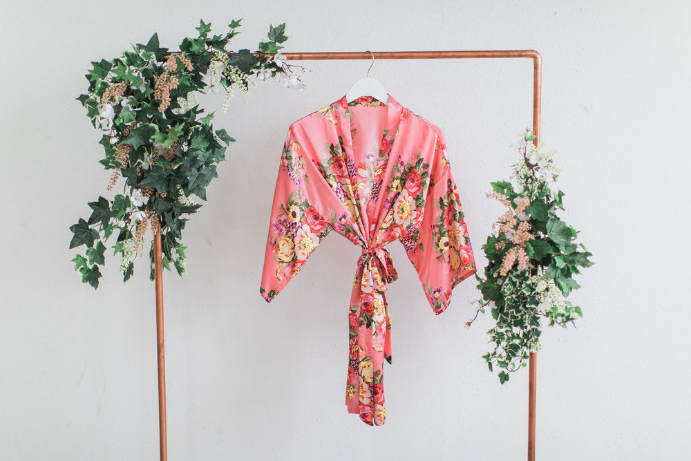 Coral Floral Bridesmaid Robe