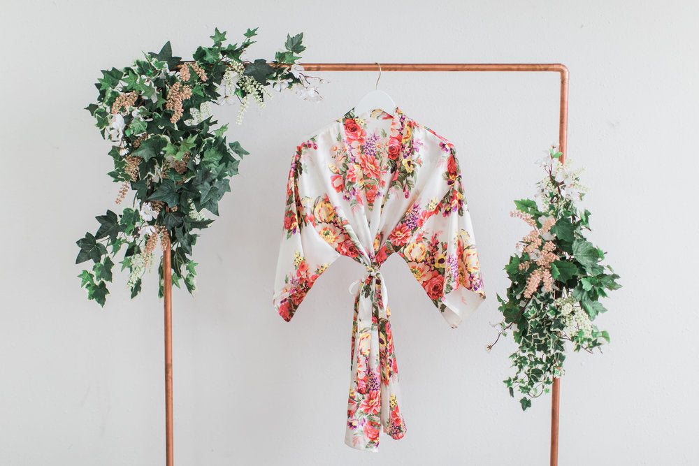White Floral Bridesmaid Robe