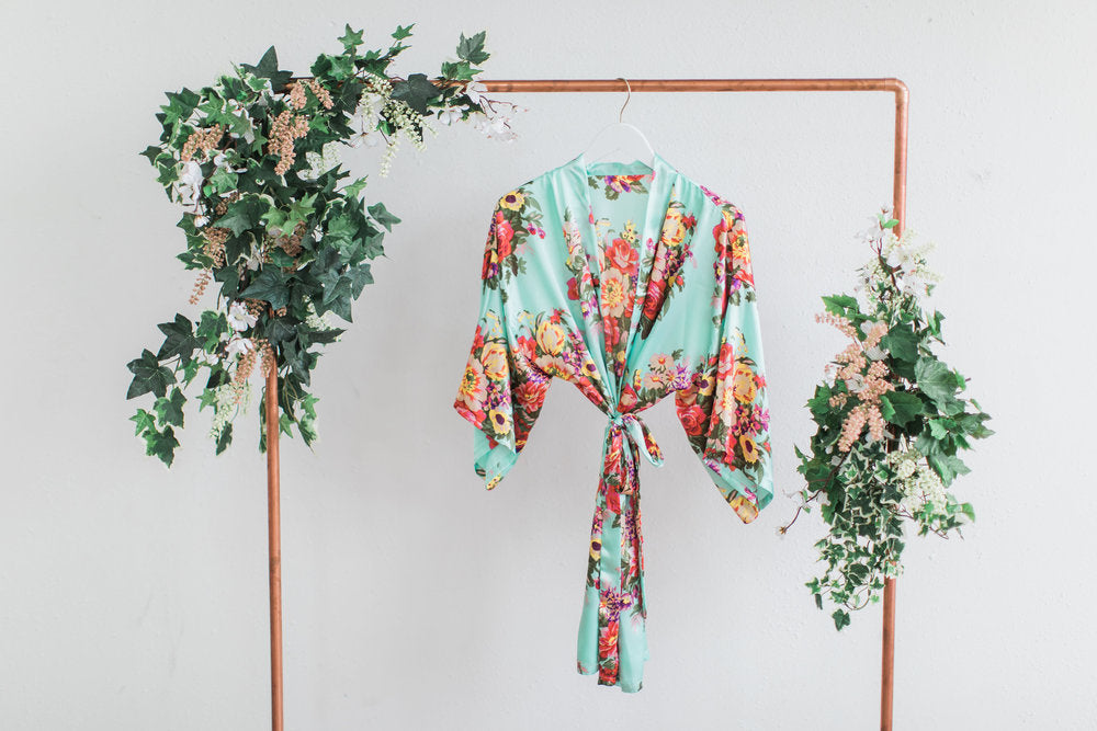 Mint Floral Bridesmaid Robe
