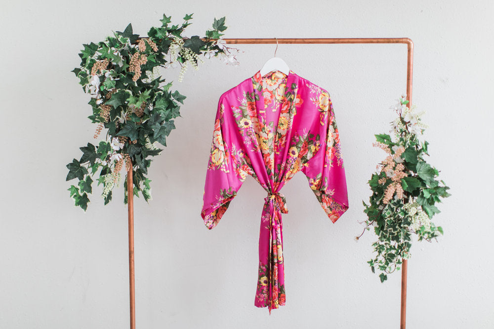 Hot Pink Floral Bridesmaid Robe