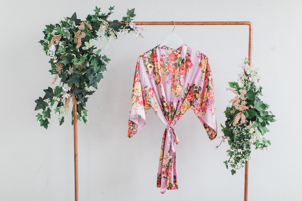 Pink Floral Bridesmaid Robe